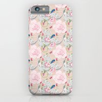 Watercolor Roses and Blush French Script iPhone 6 Slim Case