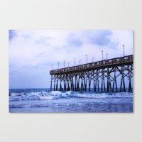 Waves Against The Pier Canvas Print