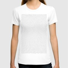 Polka Dot Landscape Womens Fitted Tee White SMALL