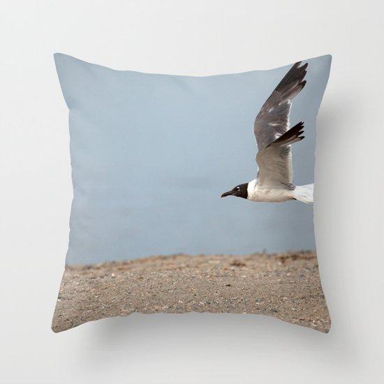 Laughing Gull in Flight Throw Pillow