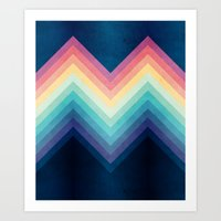Retro Chevrons 002 Art Print