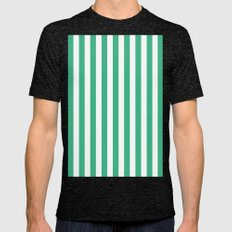 Vertical Stripes (Mint/White) Mens Fitted Tee Tri-Black SMALL