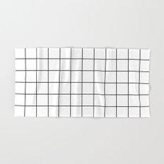 White Black Grid Minimalist Hand & Bath Towel