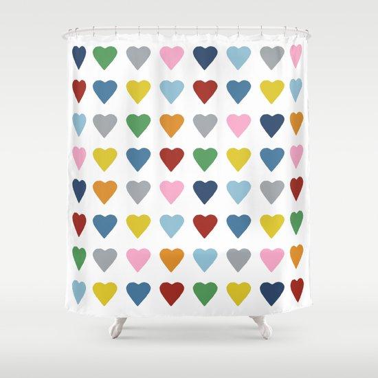 64 Hearts Shower Curtain