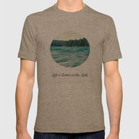 Life On The Lake Mens Fitted Tee Tri-Coffee SMALL