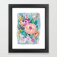 PEACH SPIN FLORAL Framed Art Print