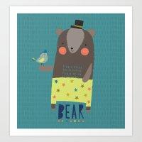 Bear And Bird Buddies Art Print