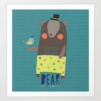 Bear and Bird Buddies Art Print