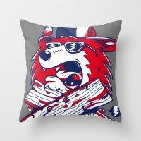 Old School Bear Throw Pillow