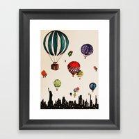 Balloon Ride Over NYC Framed Art Print
