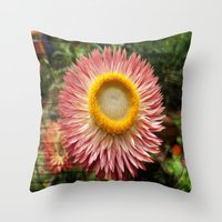 Pink flower on wood texture Throw Pillow