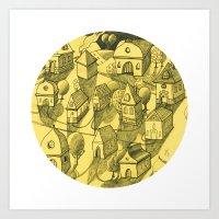 Moonlit Village Art Print