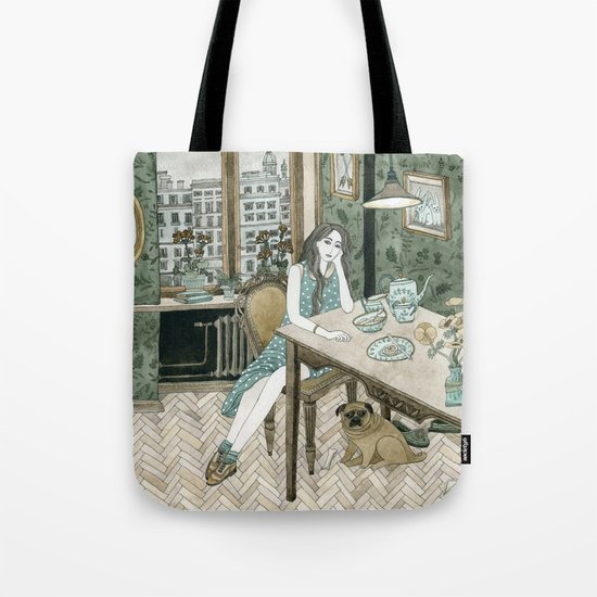 At home with a pug Tote Bag