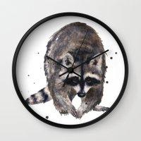 RACOON painting, wilderness nursery art, woodland animal art, racoon watercolor, cute racoon print Wall Clock