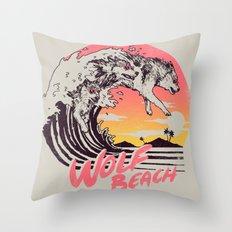 Wolf Beach Throw Pillow