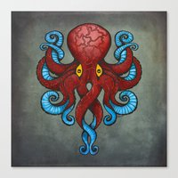 Red Dectopus Canvas Print