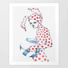 Red Dotted Bunny Art Print