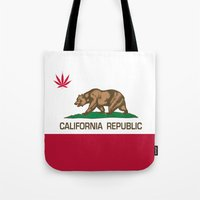 California Republic state flag with red Cannabis leaf Tote Bag