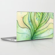 Green Watercolor Feather… Laptop & iPad Skin
