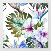 Watercolor Tropical Hibiscus Canvas Print