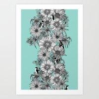 Penguins & Flowers Art Print