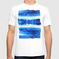 Blue Abstract Mens Fitted Tee White SMALL