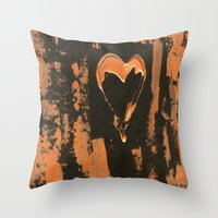Liquid Copper Heart  Throw Pillow