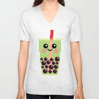 Happy Pixel Bubble Tea Unisex V-Neck
