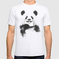 Funny Panda Mens Fitted Tee Ash Grey SMALL