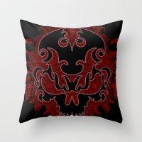 Killer Skull Red Throw Pillow