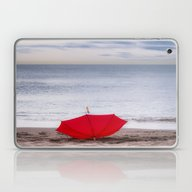 Red Umbrella At The Beac… Laptop & iPad Skin