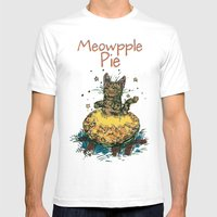 Meowpple Pie Mens Fitted Tee White SMALL