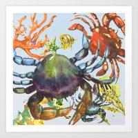 Undersea Melee Art Print