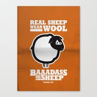 Baaadass the Sheep: Real Sheep Wear Wool Canvas Print