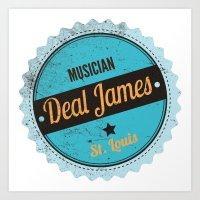 Deal James, Round Sticker Blue Art Print