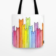 Cat Rainbow Watercolor P… Tote Bag