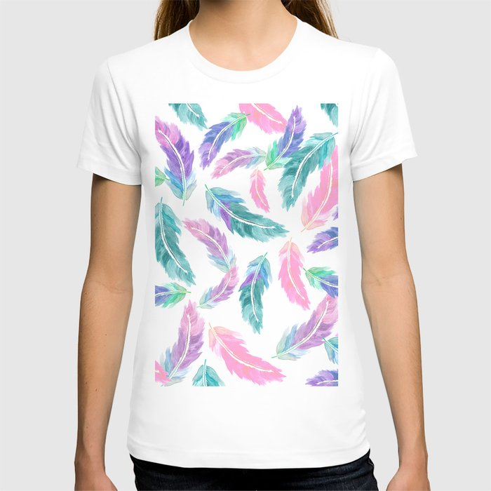 Pastel pink turquoise hand painted watercolor feathers for Pastel colored men s t shirts