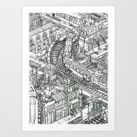 The Town of Train 2 Art Print