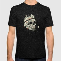 Planet Space Skull  Mens Fitted Tee Tri-Black SMALL