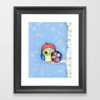 Owl In A Little Red Bere… Framed Art Print