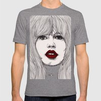 Brigitte with Red Lips Mens Fitted Tee Tri-Grey SMALL