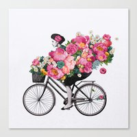 floral bicycle  Canvas Print
