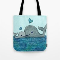 Whale Mom And Baby With … Tote Bag
