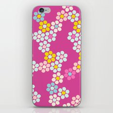 Flower tiles in hot pink iPhone & iPod Skin