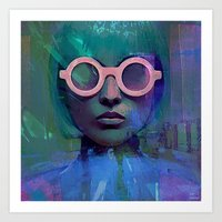 Pink Glasses girl Art Print