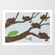 Chameleon Surprise Party  Art Print