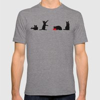 Cats Black On White Mens Fitted Tee Tri-Grey SMALL