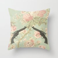Guns & Flowers Throw Pillow