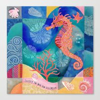 Seahorse collage Canvas Print