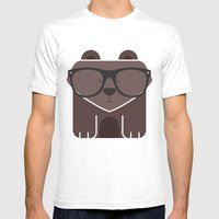 Hipster Bear Art Print Mens Fitted Tee White SMALL